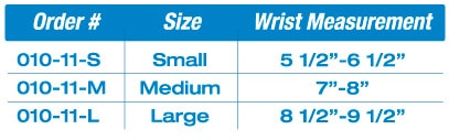 wristRAP™ Pull-On Sizing Chart