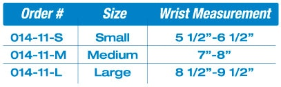 wristRAP™ With Opening Sizing Chart
