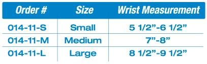 wristRAP™ With Opening Sizing Chart